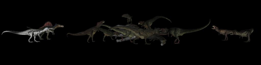 Giganotosaurs eating Argentinosaurus